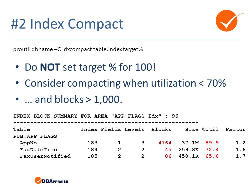 #2 Index Compact Do NOT set target % for 100!