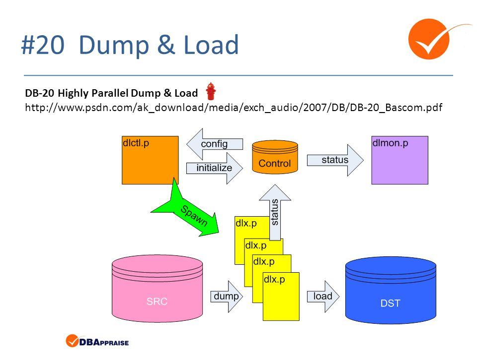 #20 Dump & Load DB-20 Highly Parallel Dump & Load http://www.psdn.com/ak_download/media/exch_audio/2007/DB/DB-20_Bascom.pdf.