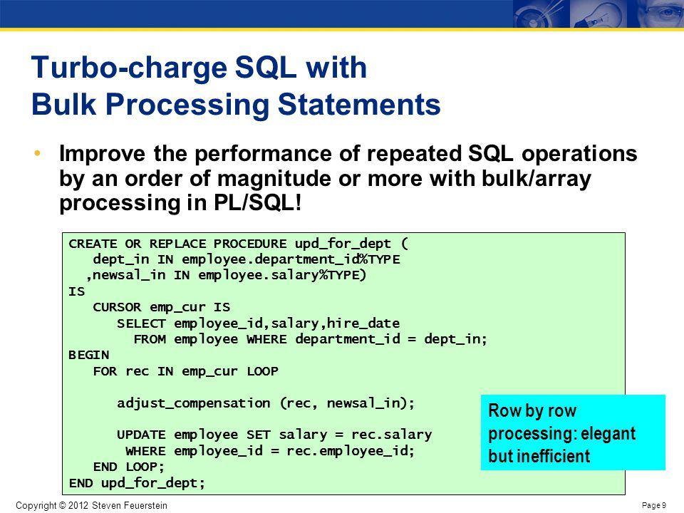 Row by row processing of DML in PL/SQL