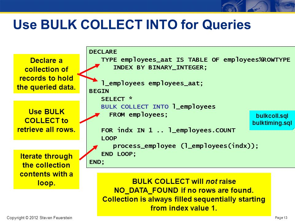 Limit the number of rows returned by BULK COLLECT