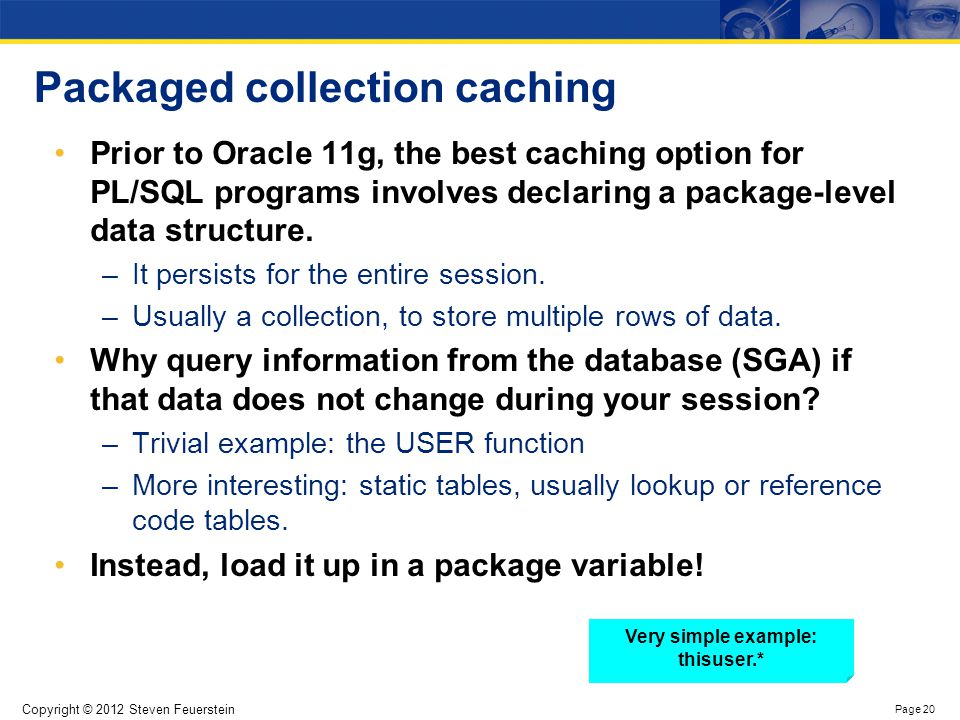 Data Caching with PL/SQL Collections