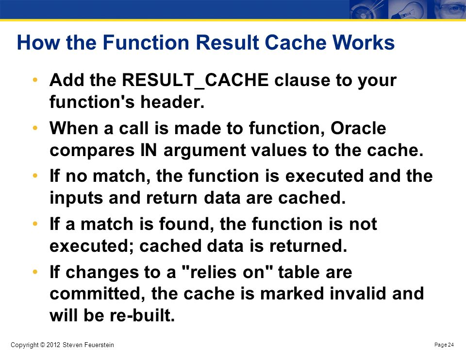 Function Result Cache Example