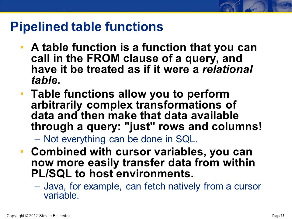 Building a table function