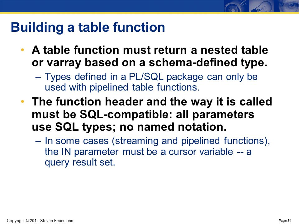 Streaming data with table functions