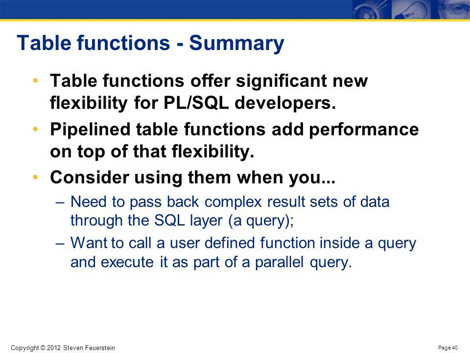 High Performance PL/SQL – a summary
