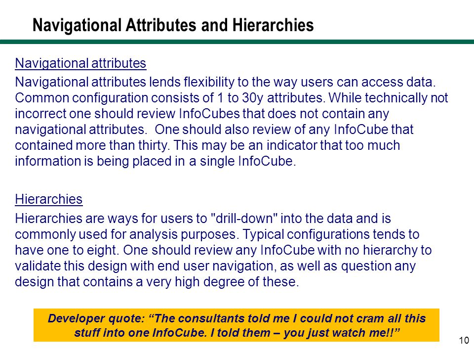 Navigational Attributes and Hierarchies