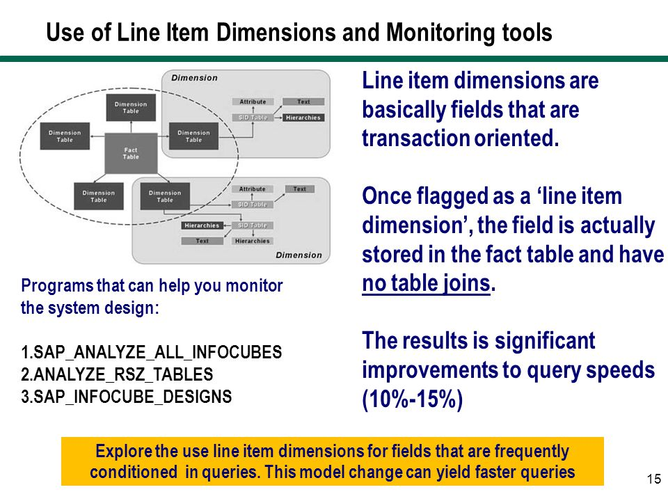 Use of Line Item Dimensions and Monitoring tools