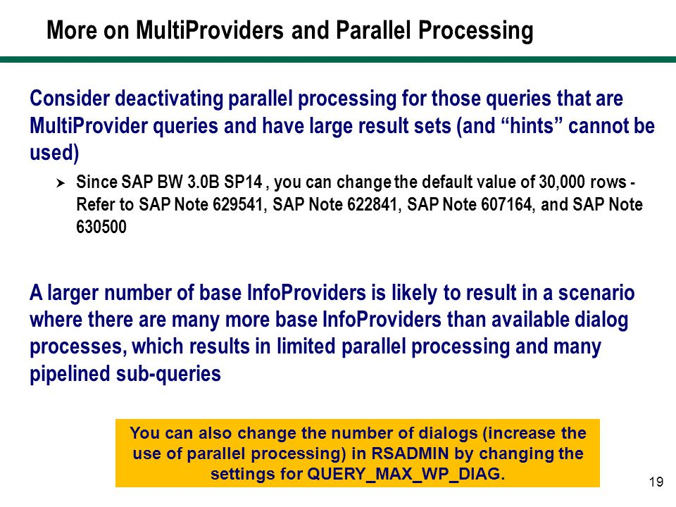More on MultiProviders and Parallel Processing