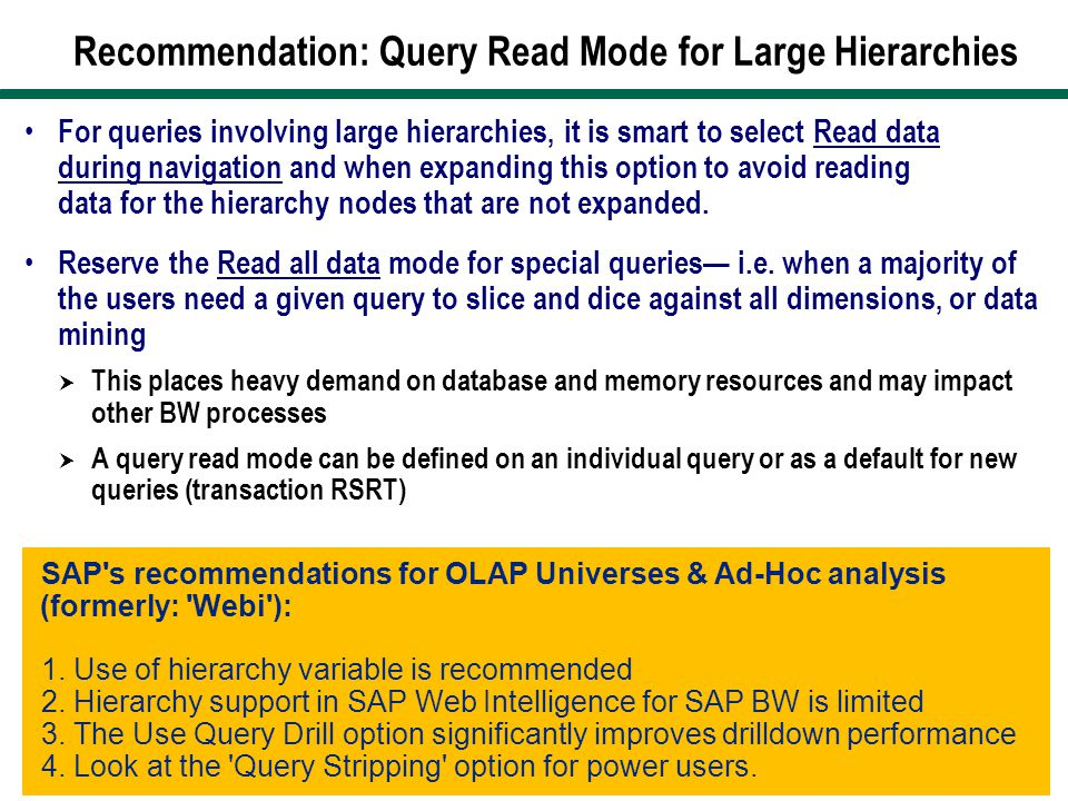 Recommendation: Query Read Mode for Large Hierarchies