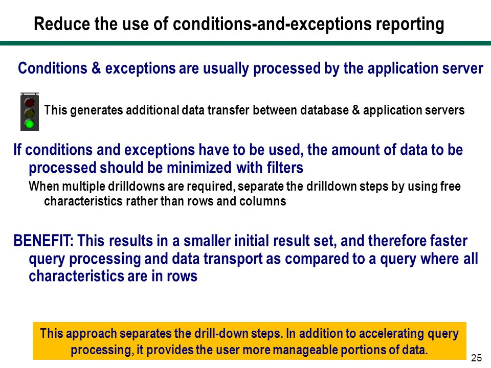 Reduce the use of conditions-and-exceptions reporting
