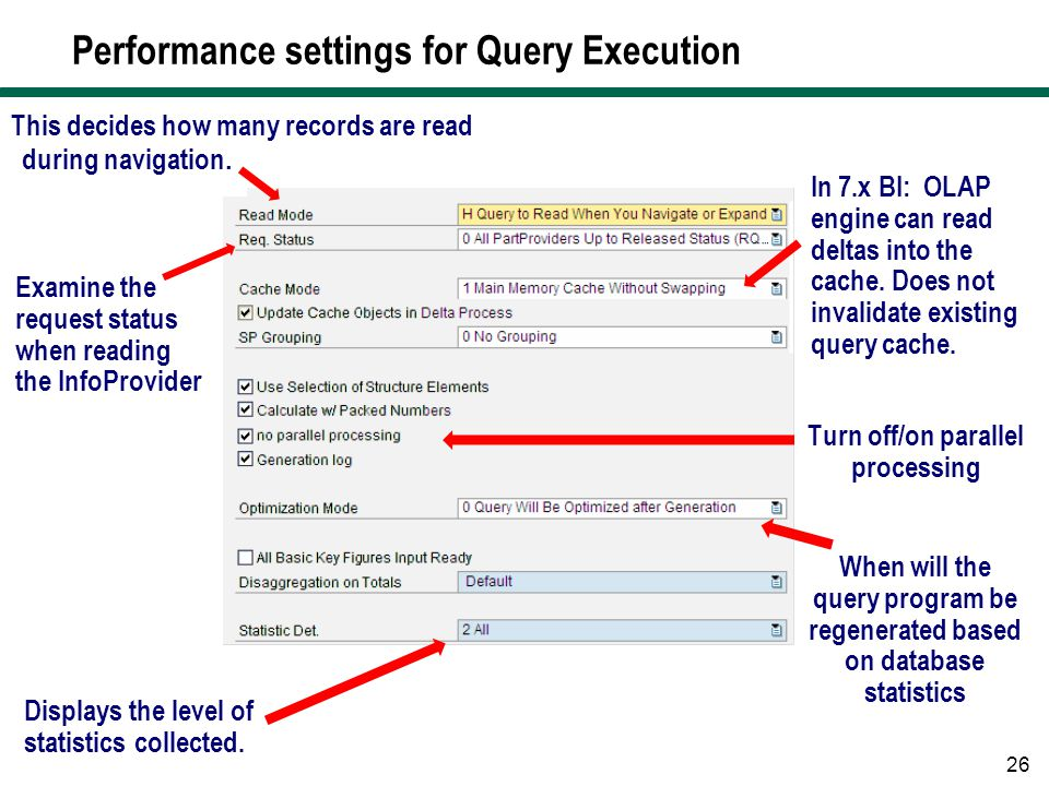 Performance settings for Query Execution