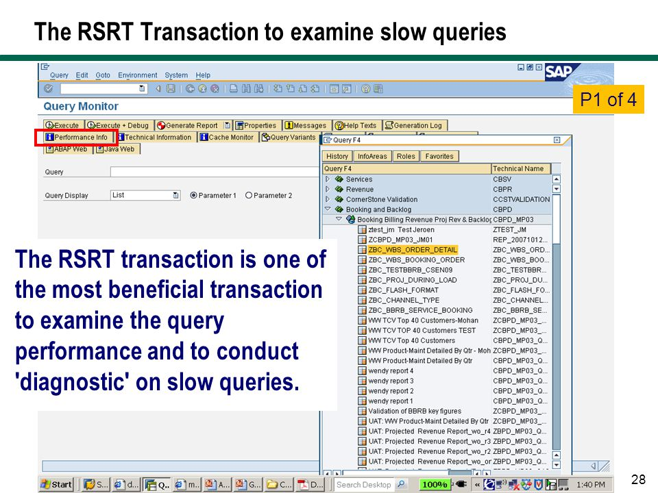 The RSRT Transaction to examine slow queries