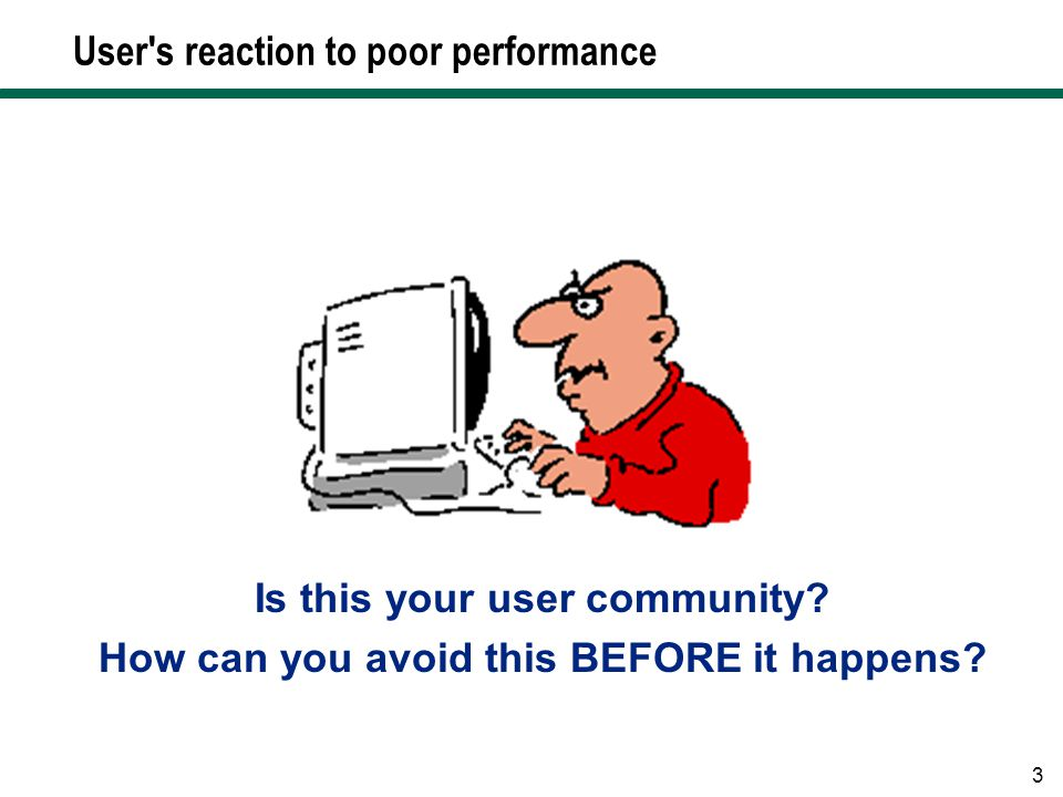 User s reaction to poor performance
