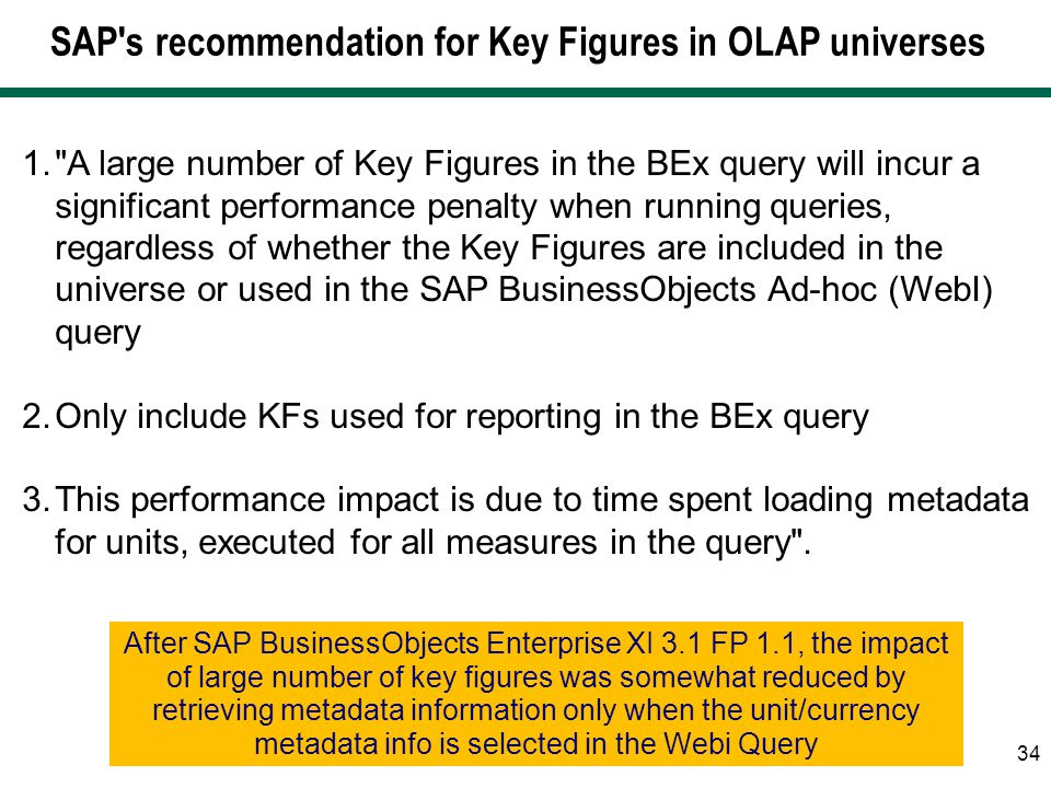 SAP s recommendation for Key Figures in OLAP universes