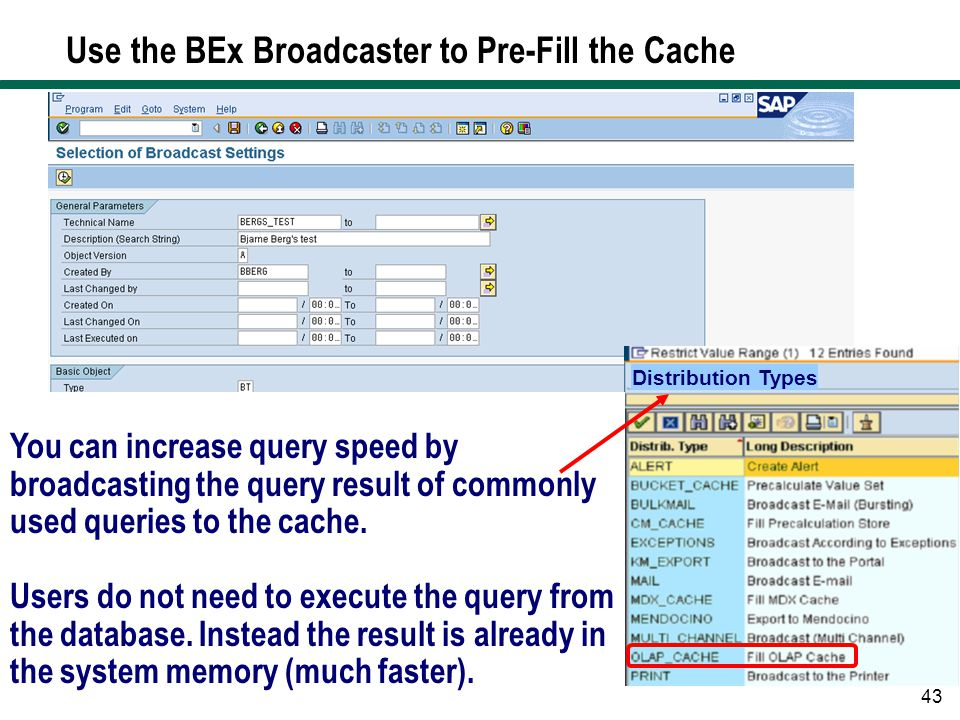 Use the BEx Broadcaster to Pre-Fill the Cache