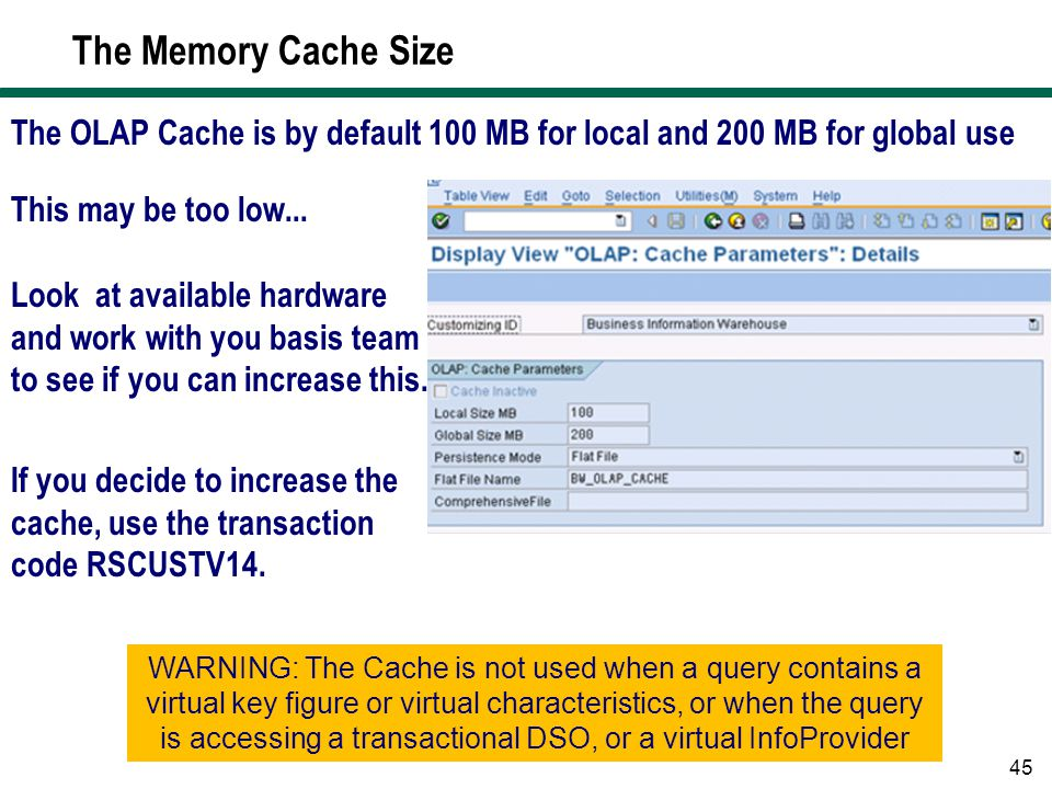 The Memory Cache Size The OLAP Cache is by default 100 MB for local and 200 MB for global use. This may be too low...