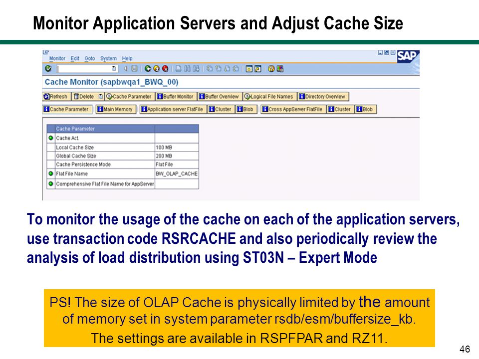 Monitor Application Servers and Adjust Cache Size