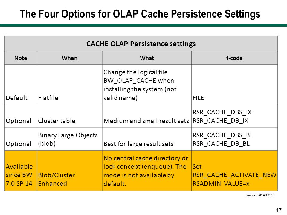 The Four Options for OLAP Cache Persistence Settings