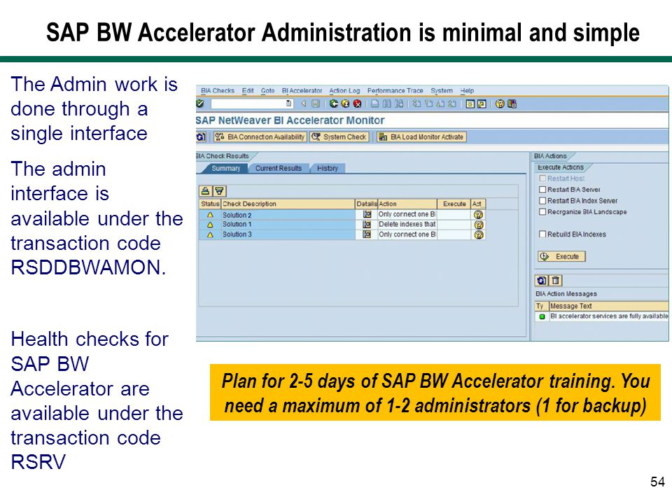 SAP BW Accelerator Administration is minimal and simple