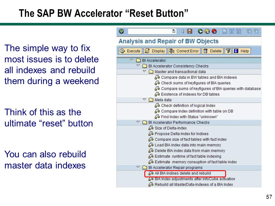 The SAP BW Accelerator Reset Button