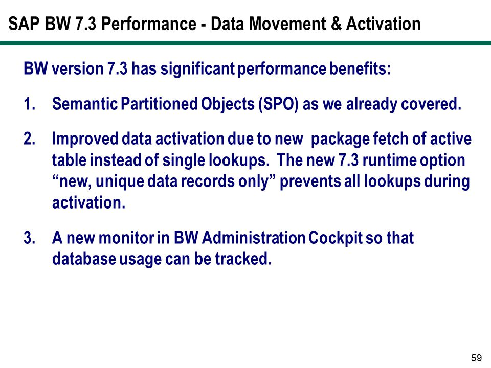 SAP BW 7.3 Performance - Data Movement & Activation