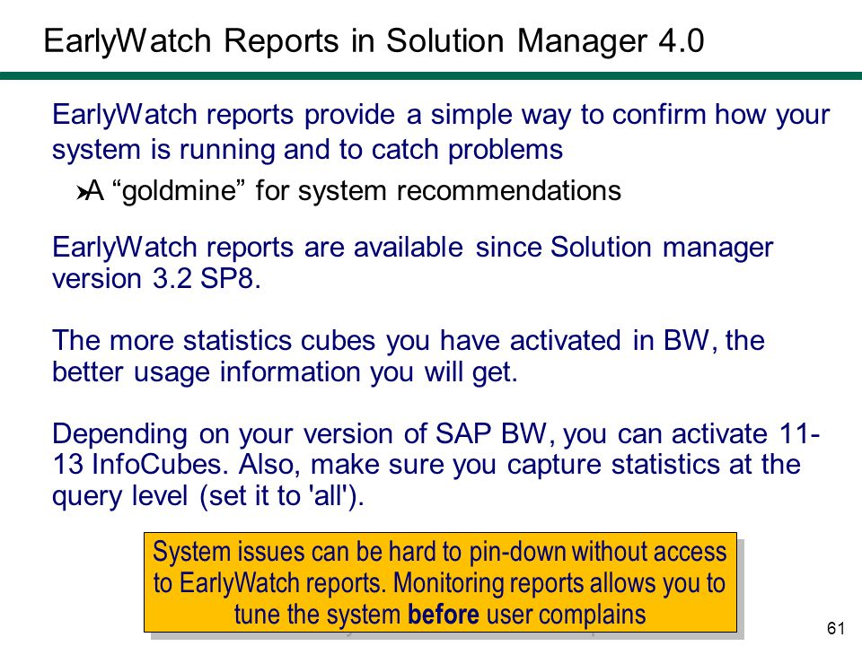 EarlyWatch Reports in Solution Manager 4.0