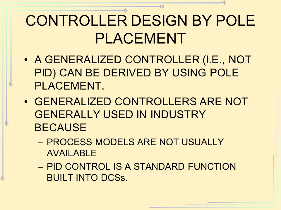 Controller Design by Pole Placement