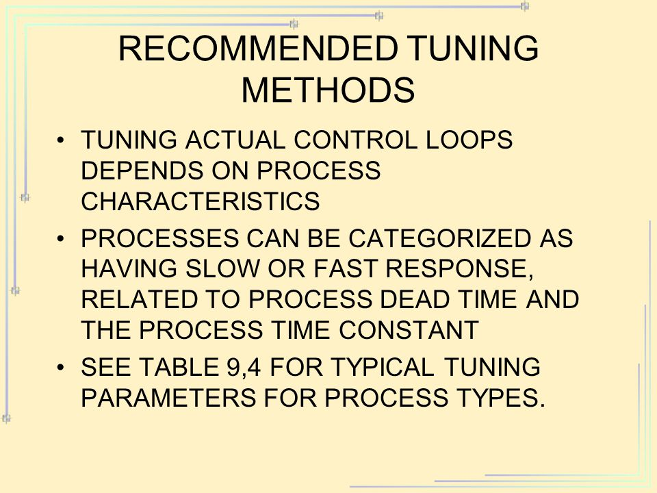 RECOMMENDED TUNING METHODS