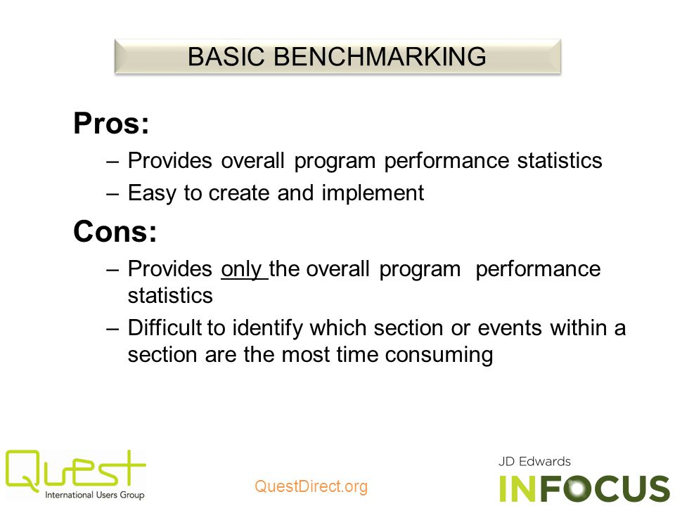 Pros: Cons: BASIC BENCHMARKING