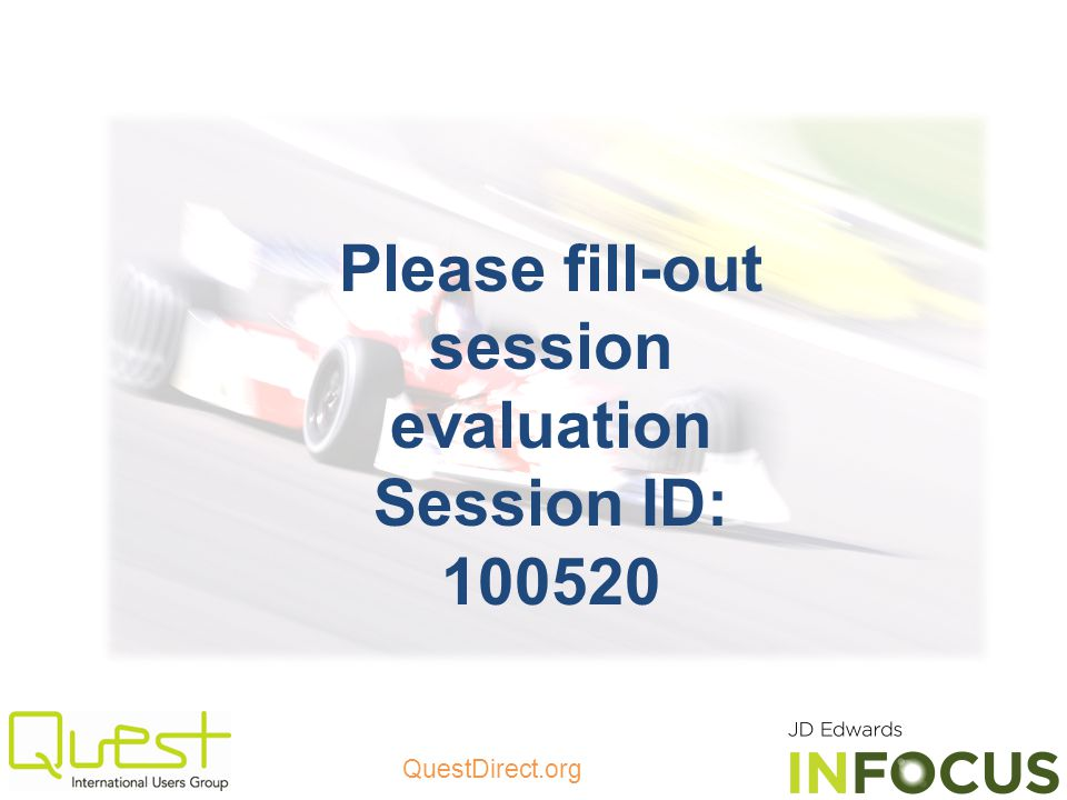 Please fill-out session evaluation