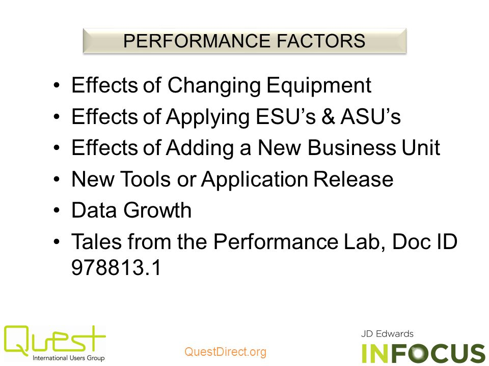 Effects of Changing Equipment Effects of Applying ESU's & ASU's