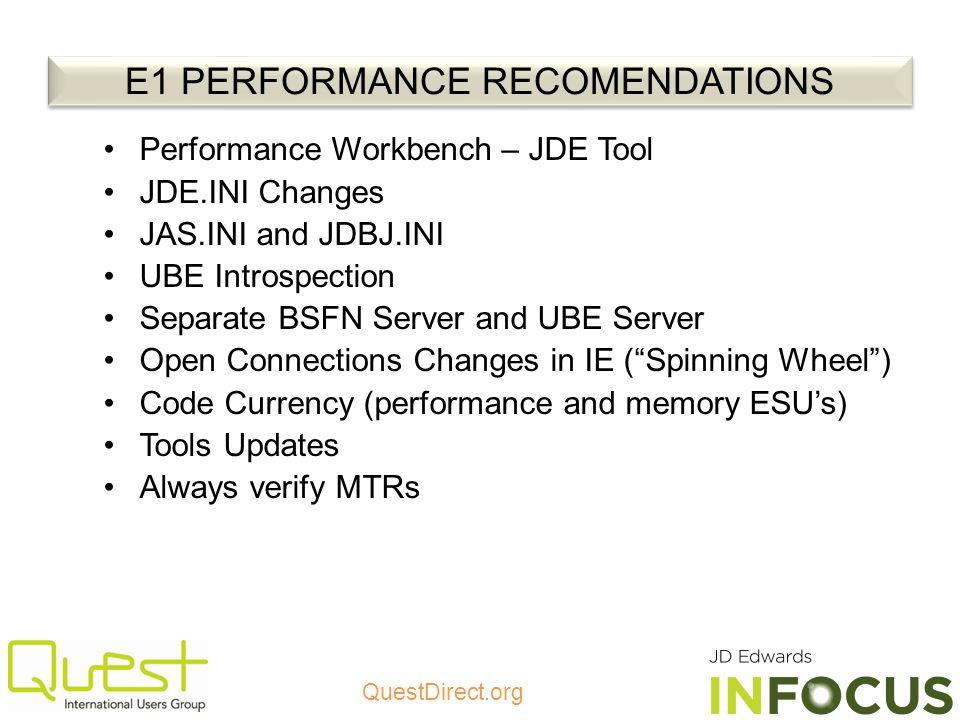 E1 PERFORMANCE RECOMENDATIONS