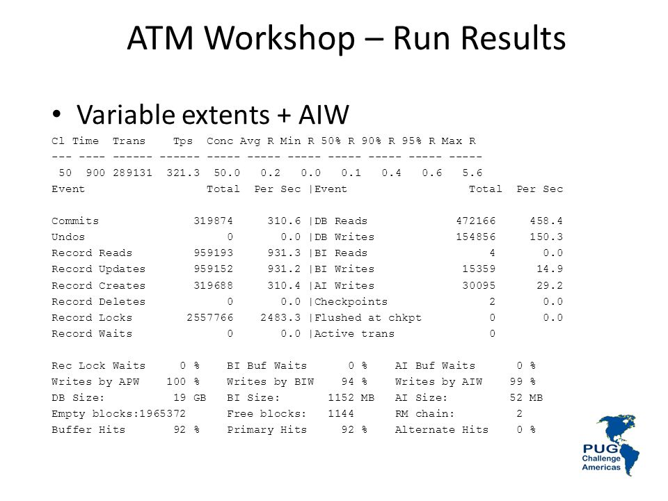 ATM Workshop – Run Results