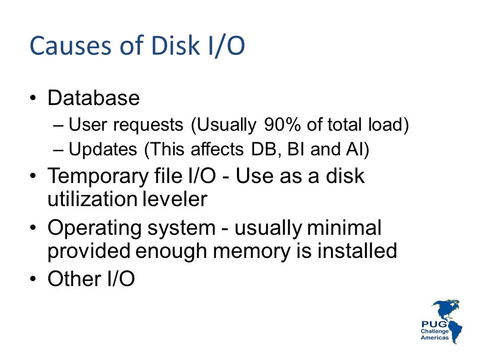 Causes of Disk I/O Database