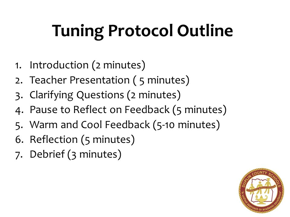 Tuning Protocol Outline