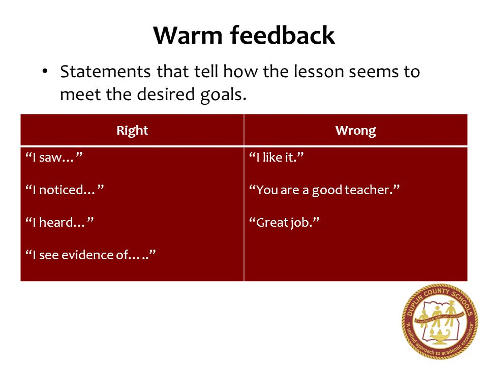 Warm feedback Statements that tell how the lesson seems to meet the desired goals. Right. Wrong. I saw…