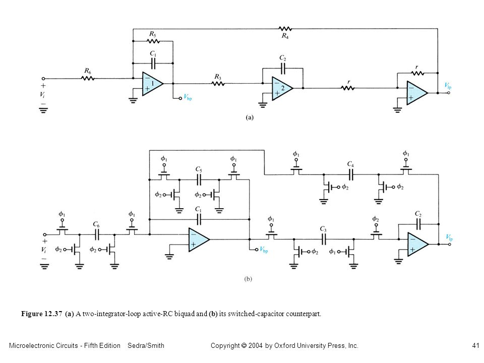 sedr42021_1237a.jpg Figure 12.37 (a) A two-integrator-loop active-RC biquad and (b) its switched-capacitor counterpart.
