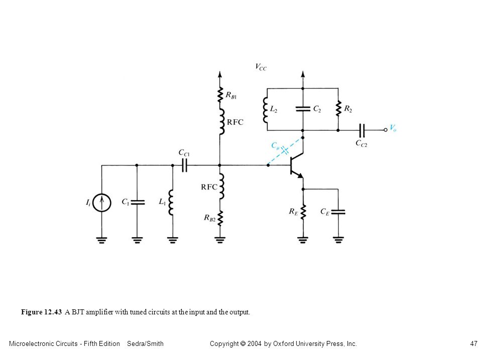 sedr42021_1243.jpg Figure 12.43 A BJT amplifier with tuned circuits at the input and the output.