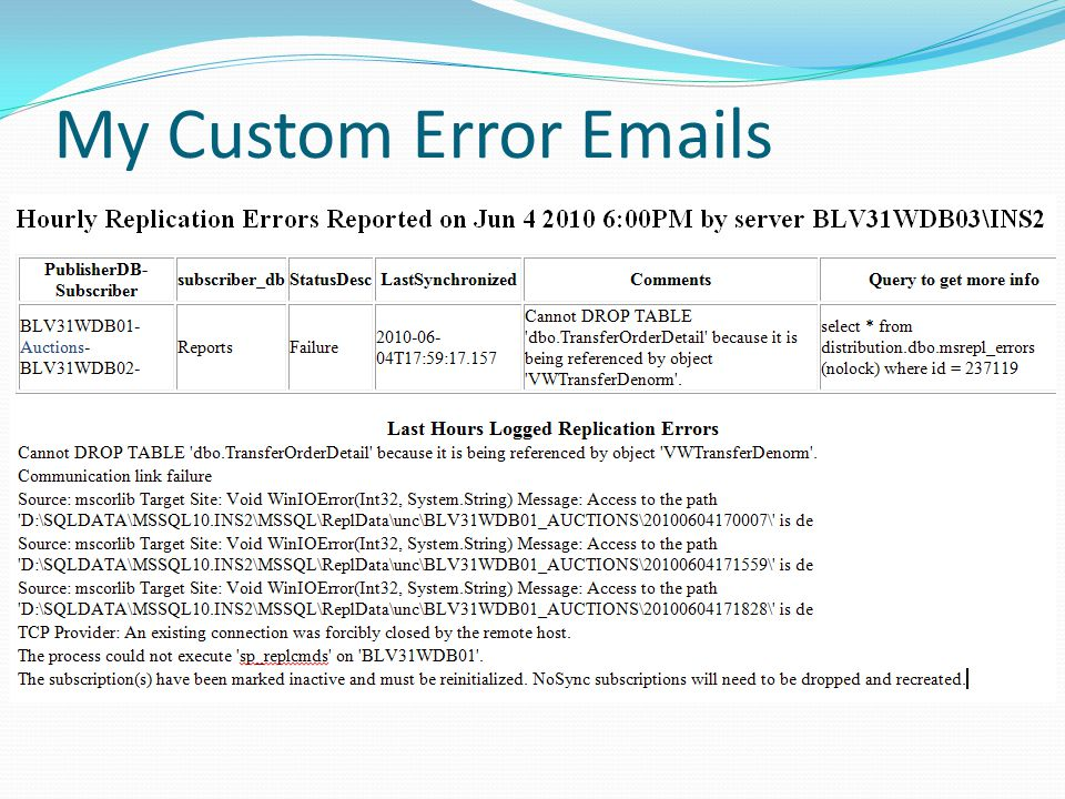 My Custom Error Emails