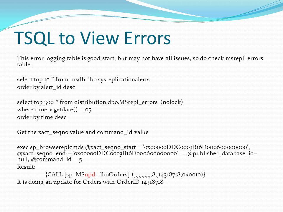 TSQL to View Errors