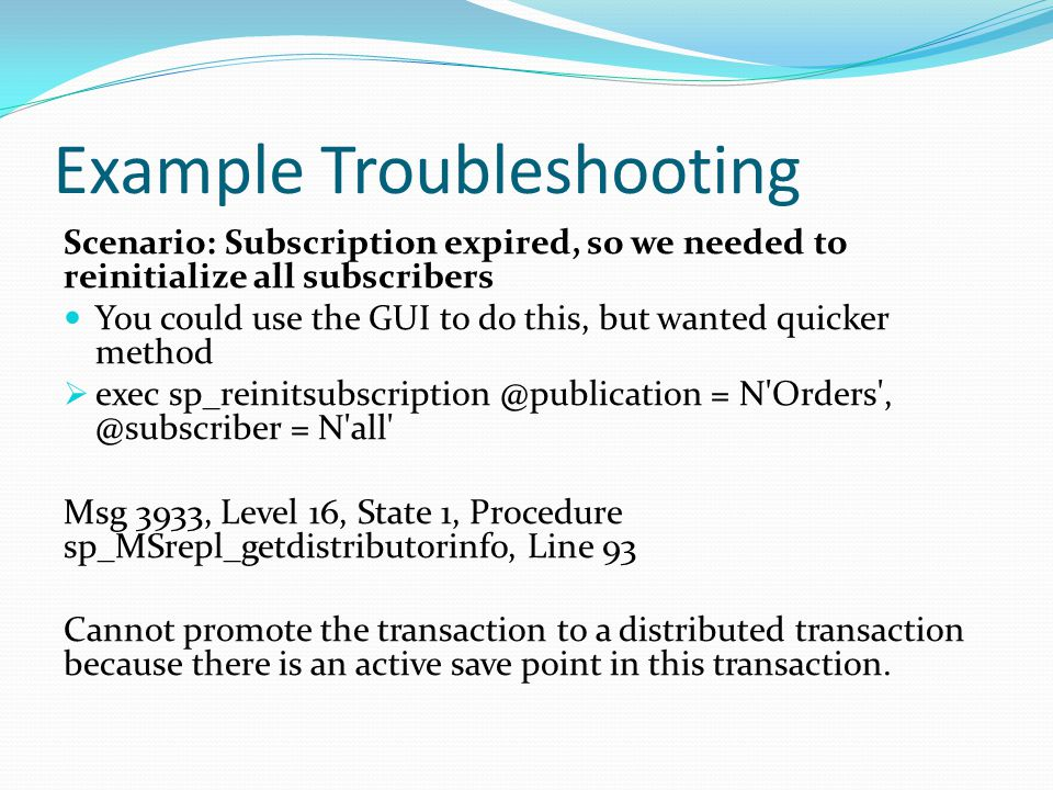 Example Troubleshooting