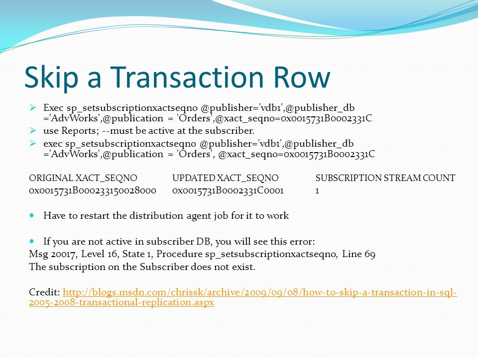 Skip a Transaction Row