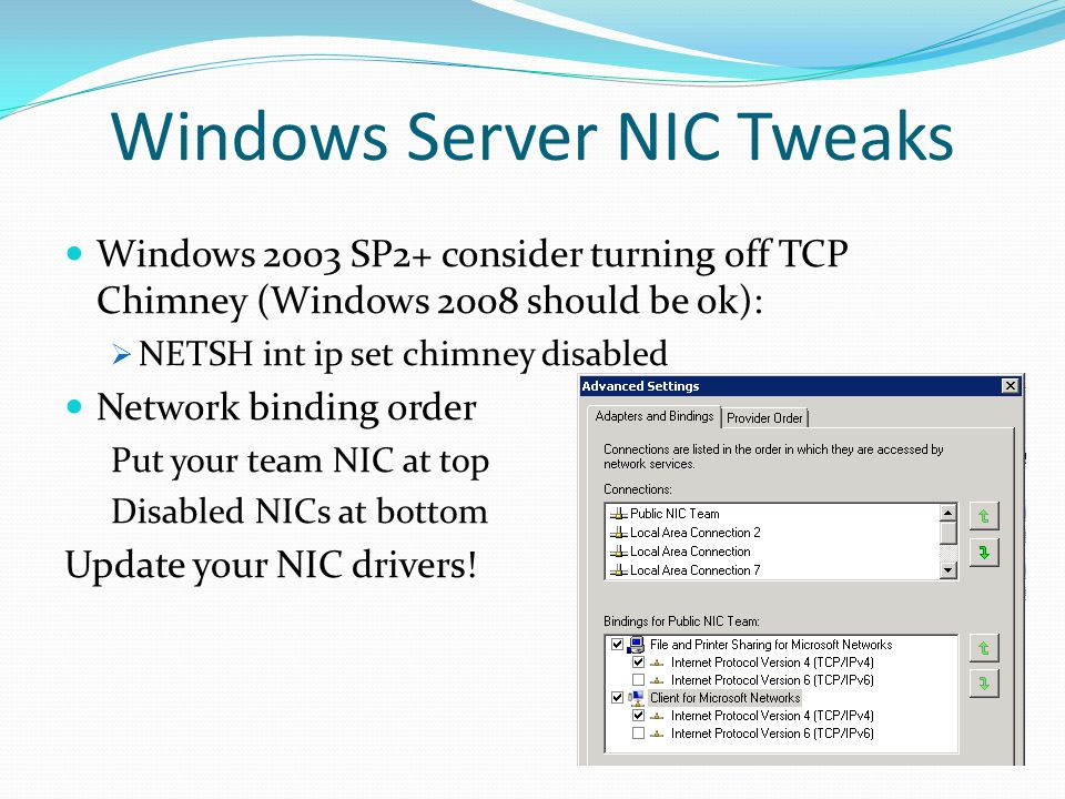 Windows Server NIC Tweaks
