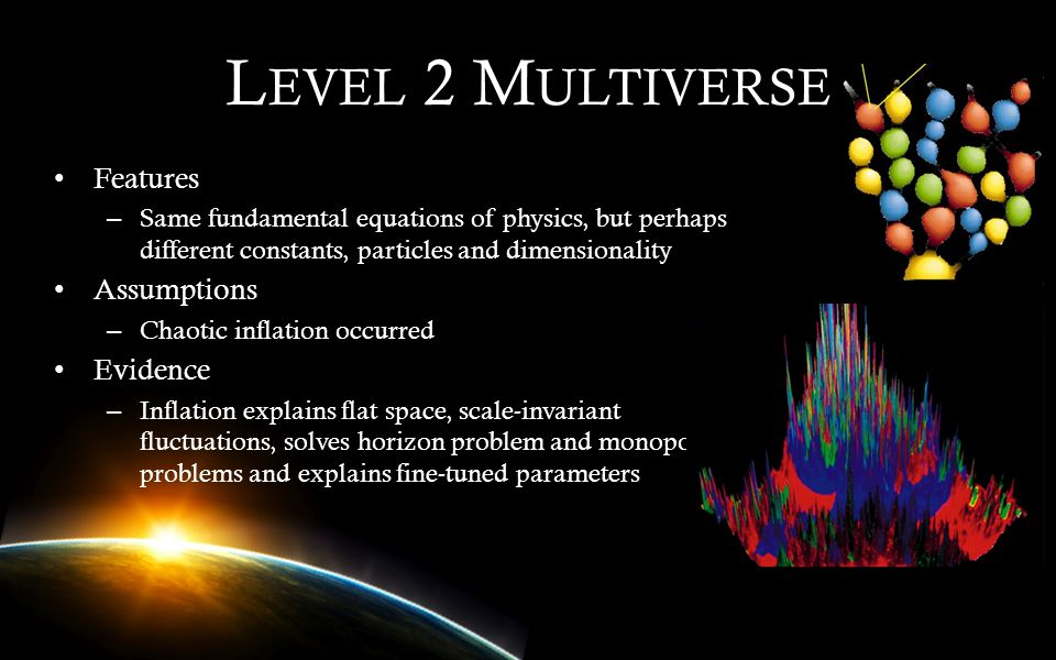 Level 2 Multiverse Features Assumptions Evidence