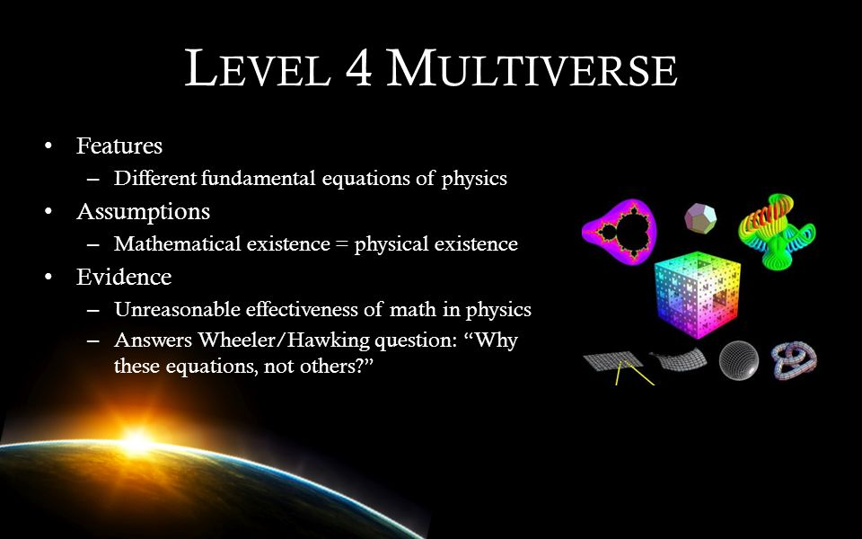 Level 4 Multiverse Features Assumptions Evidence