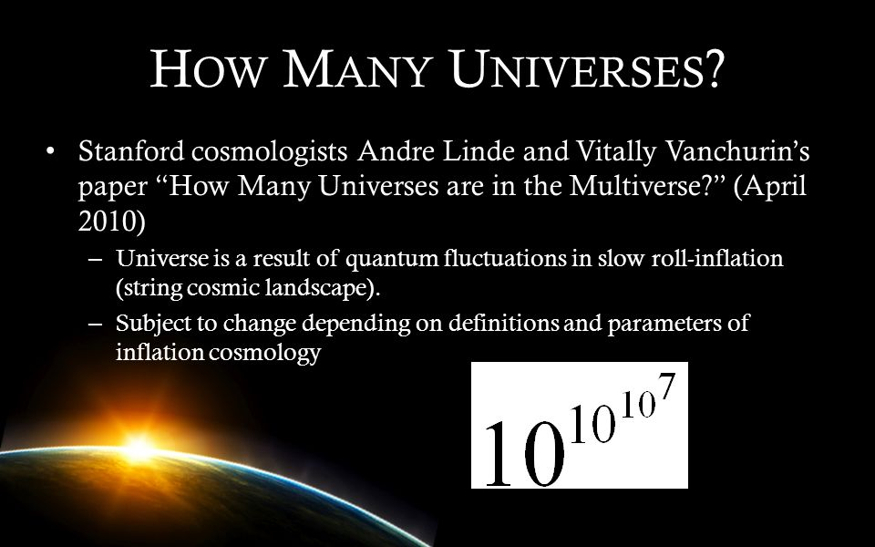 How Many Universes Stanford cosmologists Andre Linde and Vitally Vanchurin's paper How Many Universes are in the Multiverse (April 2010)