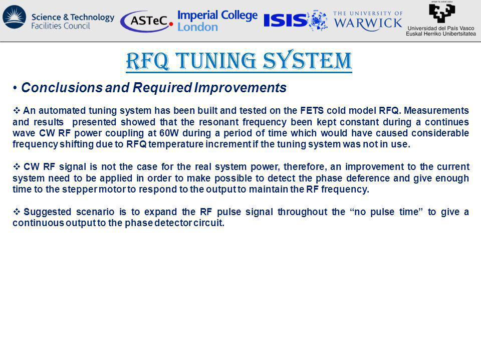RFQ Tuning System Conclusions and Required Improvements