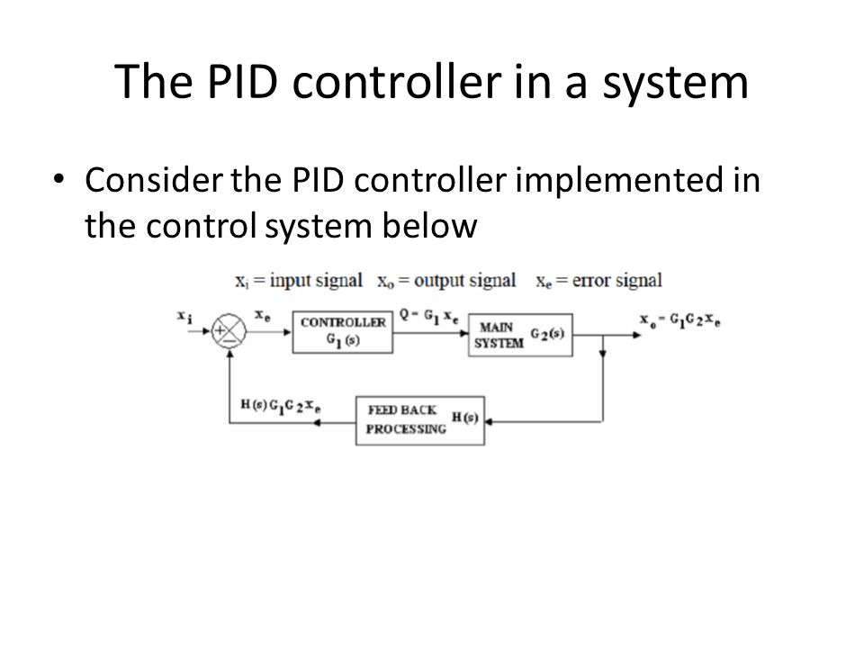 The PID controller in a system