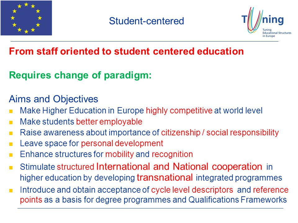 From staff oriented to student centered education