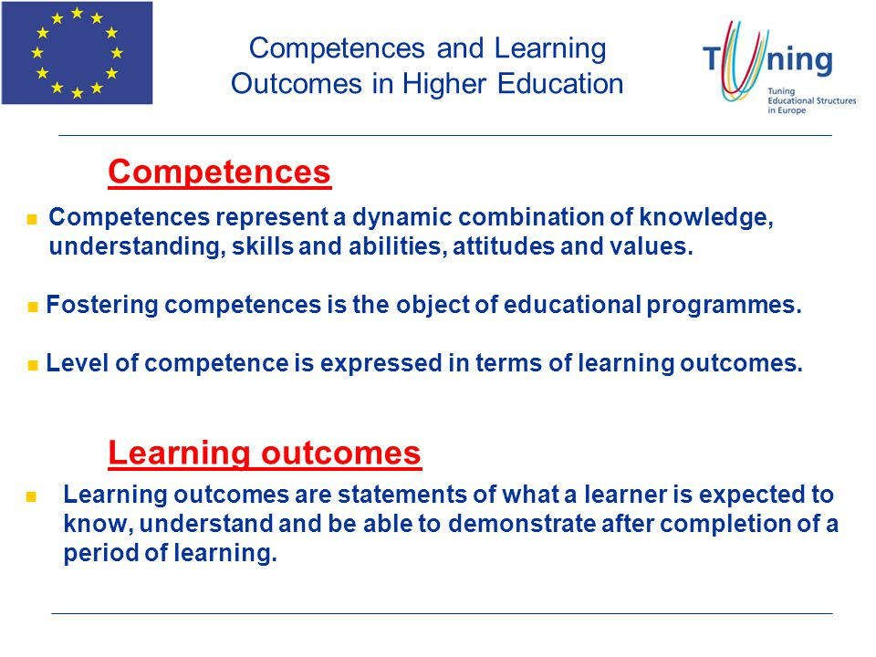 Competences and Learning Outcomes in Higher Education